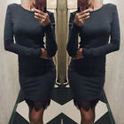 Spring Womens Long Sleeves Bodycon Short Round Neck Lace Evening Party Hem Dress