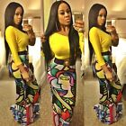 2Pcs African Digital Print Cocktail Party Evening Long Sleeve Bodycon Dress Club