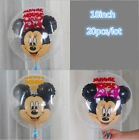 18inch 20pcs Mickey Foil Balloons Minnie Mouse with Red Bow Birthday Party Decor