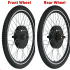 Electric Bicycle E-Bike 26&quot; Front Rear Wheel Motor Conversion Kit Disc Brake Set <br/> 500W /750W/1000W /1500W✔ Brushless Gearless Hub MOTOR ✔