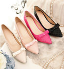 Women's bow Sweet Block Heel Pumps PU leather Court Wedding Pointed Toe Shoes