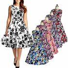 Special Floral Printed Vintage Style Women Rock Check Swing Pinup Retro Dress