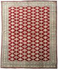 8x8 Original 8x9 Wool & Silk Jaldar Traditional Handmade Bokhara Rug Red,Grey