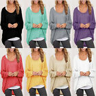 Women Tee shirt Loose Batwing Sleeve T-shirt Autumn Pullover Casual knit Tops