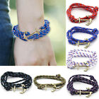 Women Men Multilayer Leather Rope Anchor Wristband Handmade Bangle Bracelet