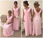 NEW PINK CHIFFON BRIDESMAID DRESS WEDDING EVENING PARTY PROM FORMAL LONG PIPPA