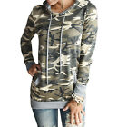 Womens Ladies Casual Long Sleeve Pillover Army Camo Camouflage Hoodie Jacket