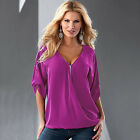 Womens V Neck Casual Short Long Sleeve Shirt Blouse Tee Tops Autumn T-Shirts