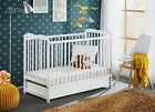 White Classic Pine Wood Baby Cot Ala with 4&quot; Foam Mattress and a Drawer 120 x 60 <br/> 4 inch Foam Mattress 120 x 60 / 3 Position Base Heights