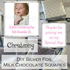 Personalised Christening Day Silver Milk Chocolate Square Favour CDLSC2