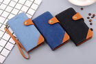 Denim Leather Snaps Wallet Card Case Cover For iPhone 6/6s Plus 7/7Plus