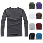 New Mens Fashion Slim Fit Cotton V-Neck Long Sleeve Casual T-Shirt Top Basic Tee