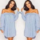 NEW WOMENS LADIES OFF THE SHOULDER BUTTON DENIM SHIRT SHORT DRESS TOP