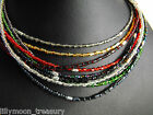 """15-17"""" beaded choker necklace sparkling HEX GLASS BEADS gold silver black blue"""
