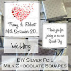 Personalised DIY Wedding Day Silver Milk Chocolate Square Favours Gifts WDLSC32