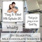 Personalised DIY Wedding Day Silver Milk Chocolate Square Favours Gifts WDLSC33