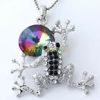 Hot Fashion Crystal Silver Plated Lovely Frog Pendant Charms Fit Necklace Gift