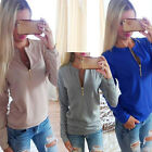 New Ladies V-Neck Long Sleeve Hoodie Sweater Womens Winter Jumper Pullover Tops