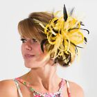 Bright yellow & Black Fascinator Hat/any satin/highlight feather colour