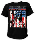 T-Shirt - 18377 - FREEDOM WITH LADY LIBERTY Amerika Flagge Freiheitsstatue USA