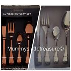 16 Piece Cutlery Set Copper Rose Gold/ Silver Hearts On Handles