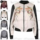 Women Ladies Contrast Collar Long Sleeve Side Pocket Dragon Print Bomber Jacket