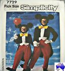 Simplicity Sewing Pattern 7729 Kids Adults Mickey Mouse Costume Pick Size