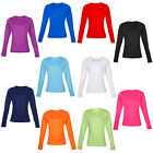 New Rhino Womens Baselayer Long Sleeved Top Ladies Round Low Neck Tee Size 6-18