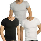 Mens Raiken Ribbed V Neck ( Pack of 3 ) Slim Fit Black Grey White T-Shirt Men...