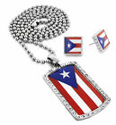 """Men Iced Out Pueto Rico Dog Tag Pendant 30"""" Ball Chain Necklace Earring Set 55"""