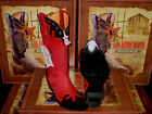 LOS ALTOS WOMEN RED/BLACK LEATHER SNIP TOE EEL WESTERN COWBOY BOOT 34P0705