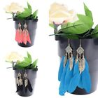 1 Pair Stylish Colourful Goose Feather Rhombus Long Eardrop Dangle Earrings HOT