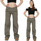 New Womens Army Green Lightweight Wide Loose Leg Cargo Pants Combat Trousers
