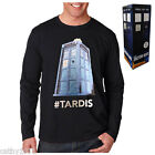 BNWT Genuine Licensed Mens Black Dr Who Tardis Long Sleeve Top - Sizes S - XL