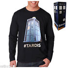 NEW Genuine Licensed Mens Black Dr Who Tardis Long Sleeve Top - Sizes S - XL