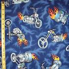 Chopper & Flame (Blue background) Printed Quilting Crafting Cotton Fabric