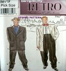 Simplicity Sewing Pattern 8879 Mens Retro Zoot Suit Swing Costume Pick Size