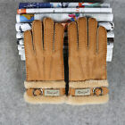 Warm Thick Real Sheepskin Wool Fur Men's Finger Gloves Boys Winter -1213