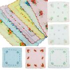 12Pcs Lot Women Child 100% Cotton Flower Fashion Handkerchiefs Quadrate Hankies