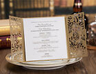 Gold Wedding Invitation Cards Gatefold with Envelope, Seal, Free Personalized