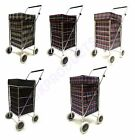 UK 4 wheels Shopping Trolley Bag Multicolored Waterproof Bag Lightweight Caged