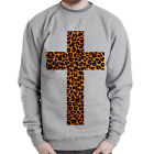 Cross Leopard design graphic gift idea goth Grey Heavy Blend Crewneck Sweatshirt