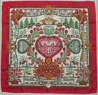 "Auth HERMES ""Decoupages"" by Anne Rosat Red Silk Scarf 9213"