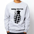 say no to grenades peace No war love Grey Heavy Blend Crewneck Sweatshirt