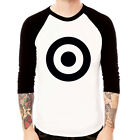 Target-black mod fashion circle Baseball Jersey t-shirt 3/4 sleeve Raglan