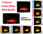 Black Wall Mounted Electric Fireplace Glass Heater Fire LED Back Light & Remote