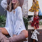 Boho Womens Floral Printed Long Sleeve Tunic Loose Tops Shirt Party MIni Dress