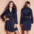 Women's Luxury Mid-Length Long Sleeve Silky Satin Robe Navy Nightwear Sleepwear