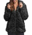 Madden Girl Black Cozy Faux Fur Hooded Zip Up Jacket Wome...