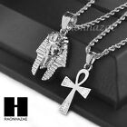 """STAINLESS STEEL KING-TUT & ANKH PENDANT 24"""" 30"""" ROPE CHAIN NECKLACE SET NP016"""